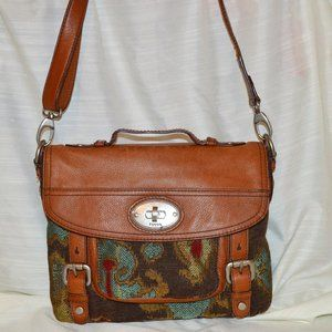 Fossil 54 Maddox Brown Leather Tapestry Messenger